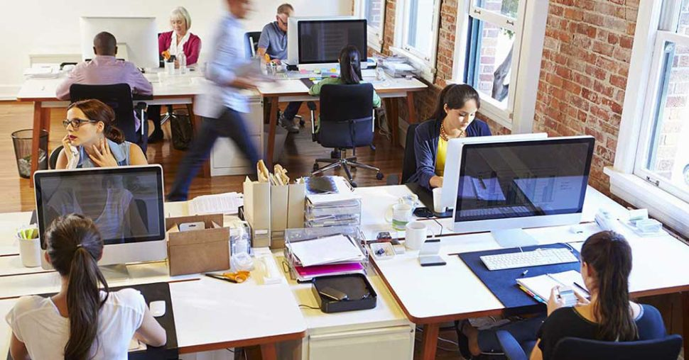 open versus closed office spaces busy noisy